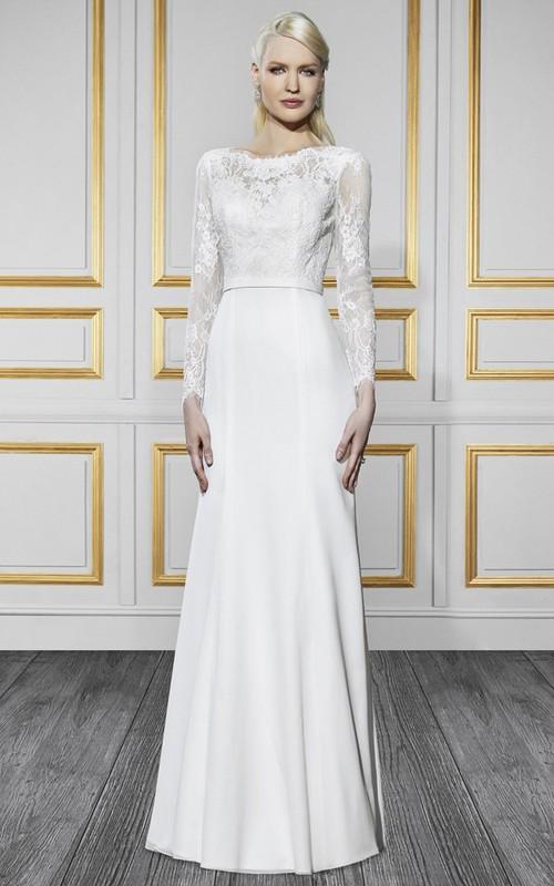 Bateau Illusion Long Sleeve Lace Wedding Dress With Deep-V Back