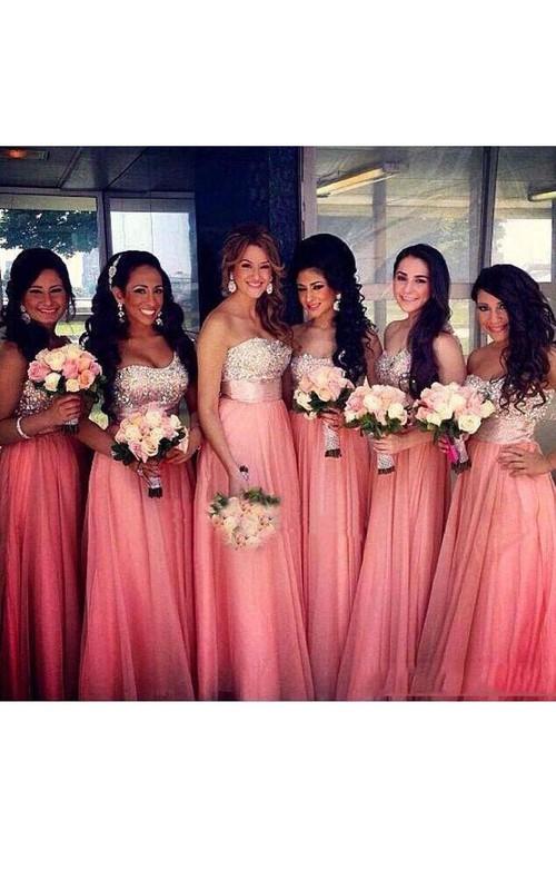 A-line Maxi Sweetheart Sleeveless Beading Chiffon Dress