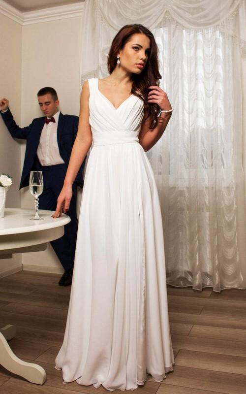 Sleeveless Bow Pleats V-Neckline Chiffon Dress