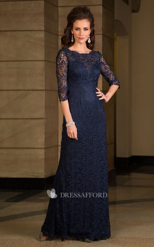 Half Sleeve allover Lace Mother of the Bride Dress