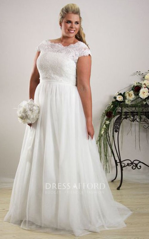 Bateau Cap-sleeve A-line plus size Wedding Dress With Lace