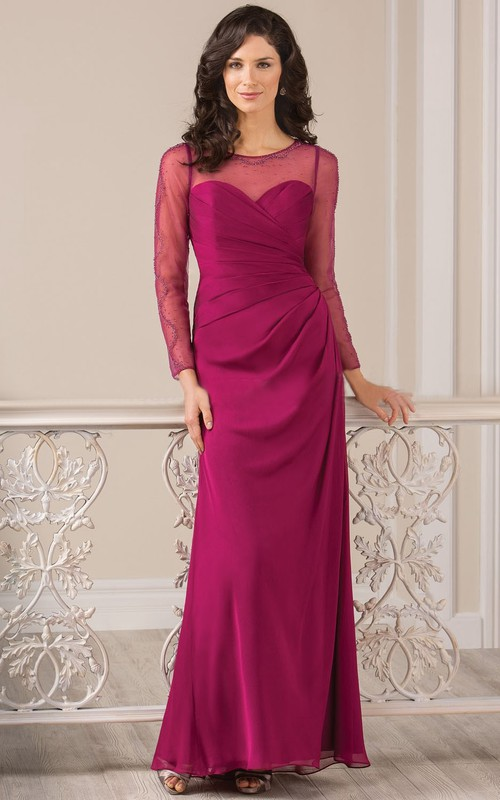 Jewels Illusion Inspire Long Long-Sleeved Gown