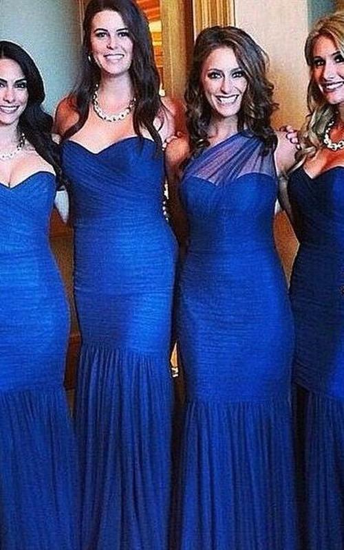Sexy Mermaid Royal Blue Bridesmaid Dress 2018 Ruched Sleeveless