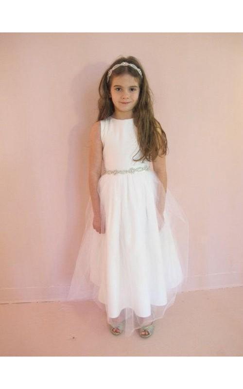 Jeweled-Waistline Pleated Zipper Back Sleeveless Simple Tulle Dress