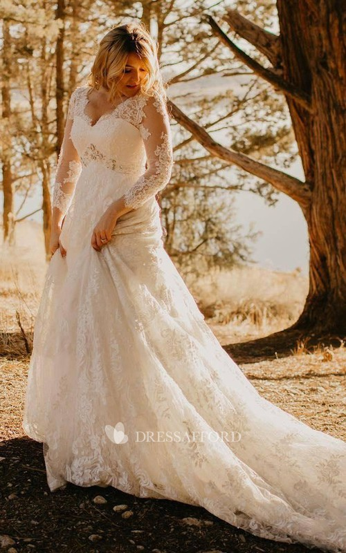 Elegant Country Style Plus Size Lace V-neck A-line Illusion 3/4 Sleeve Court-train Wedding Dress