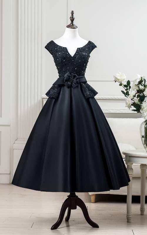 A-line Tea-length V-neck Cap Short Sleeve Satin Dress with Beading