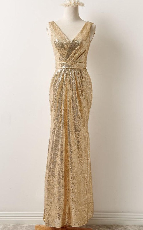 V-neck Sleeveless Ruched Sheath Sequined Dress Low-V Back