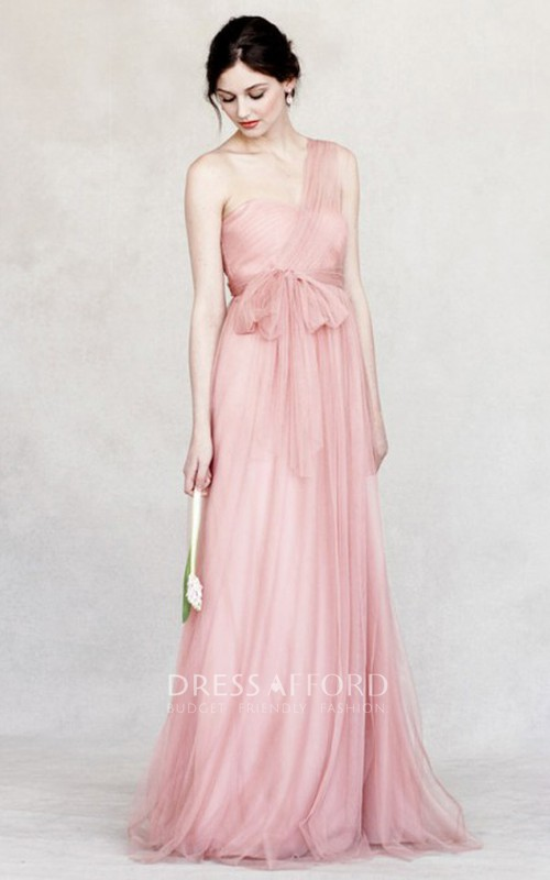 Strapless Tulle bowed long Bridesmaid Dress With Pleats