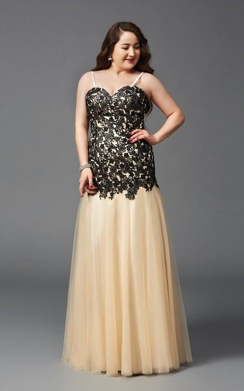Mermaid Floor-length Spaghetti Sleeveless Tulle Lace Pleats Appliques Dress