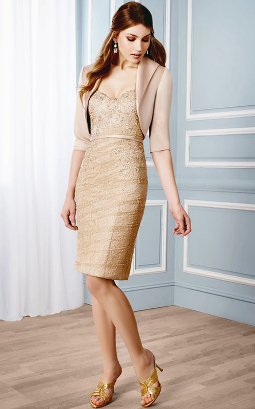 Pencil Sweetheart Lace short Mother of the Bride Dress With jacket