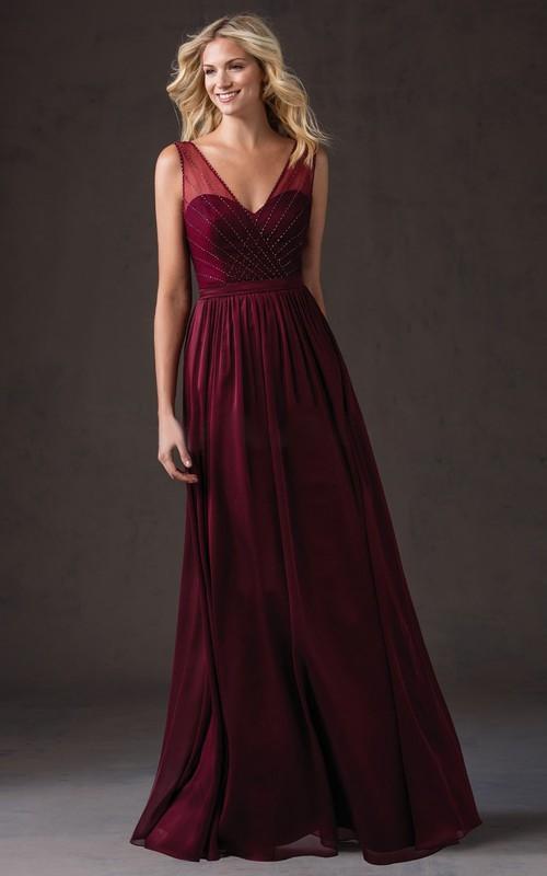 Sleeveless V-Neck Long Bridesmaid Dress With Beadings And Illusion Style