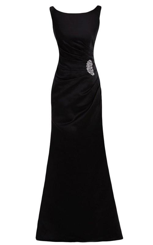 Satin Rhinestoned Bateau-Neckline Cap-Sleeved Gown