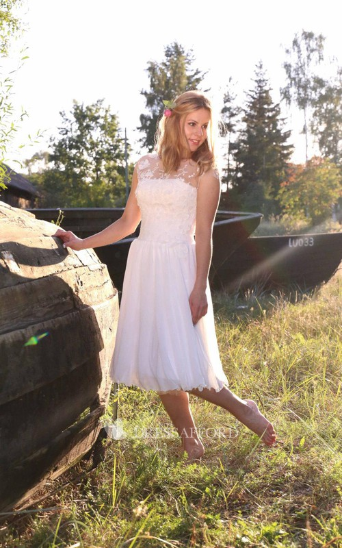 Lace Illusion Lace-Up Back Sweetheart Tea-Length Dress