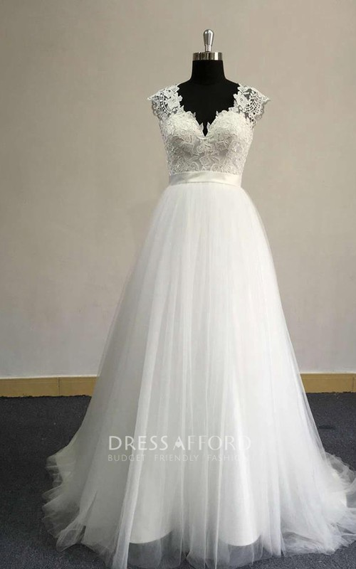 Tulle Satin Sash Lace Bodice Cap-Sleeve V-Neckline Dress