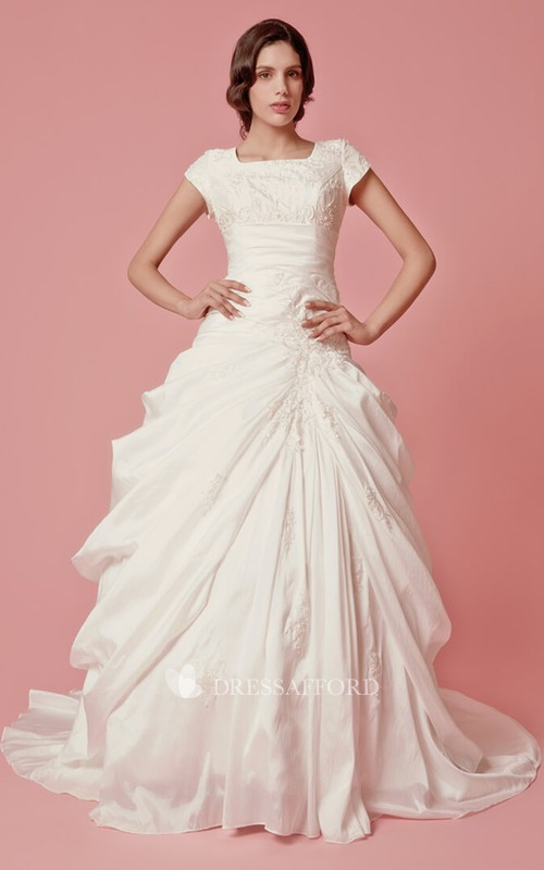 square-neck Cap-sleeve Pick Up A-line Ball Gown With Appliques