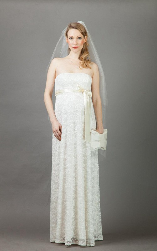 Strapless Lace Empire maternity Wedding Dress With bow And Pleats