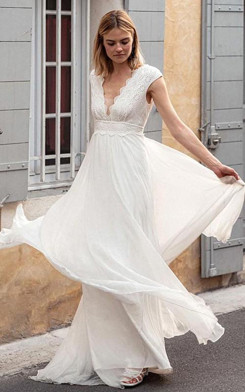 Bohemian Short Sleeve A Line Chiffon Lace V-neck Wedding Dress with V Back