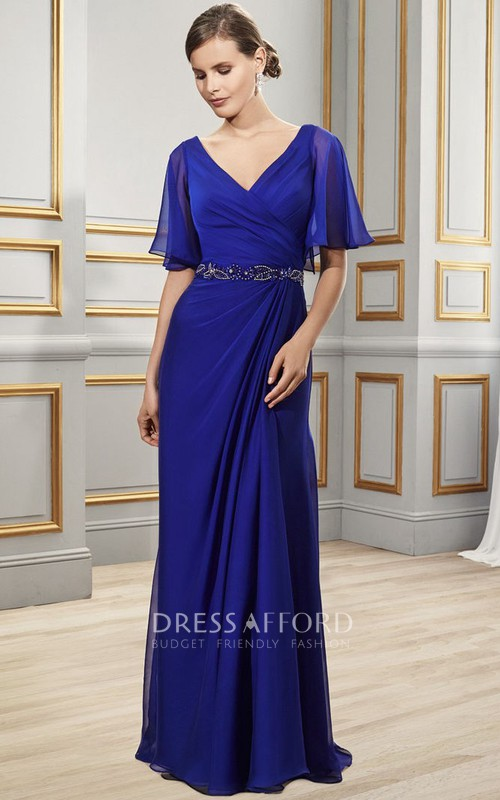 V-neck Poet-sleeve Chiffon Dress With Side Draping And Embellished Waist