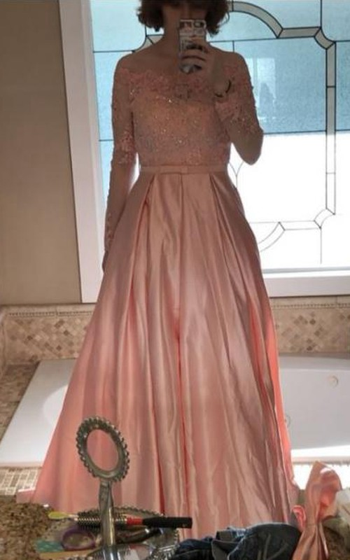 Off-the-shoulder Satin Lace Long Sleeve Sweep Brush Train Appliques Beading Bow(s) Sash Ribbon Embroidery Dress