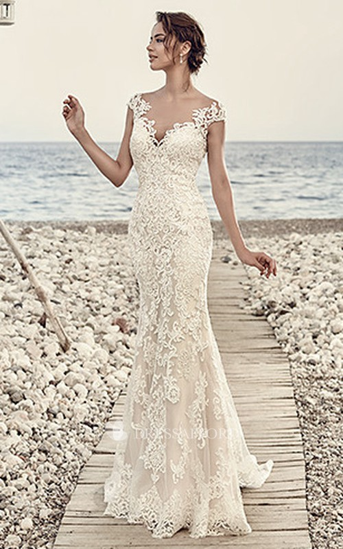 Sheath V-neck Cap-sleeve Lace Wedding Dress With Appliques And Court Train