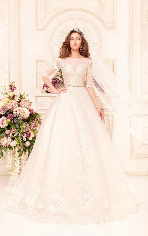 Bateau-Neck Appliqued Lace Waist Jewellery Ball-Gown Princess Deep-V-Back Dress