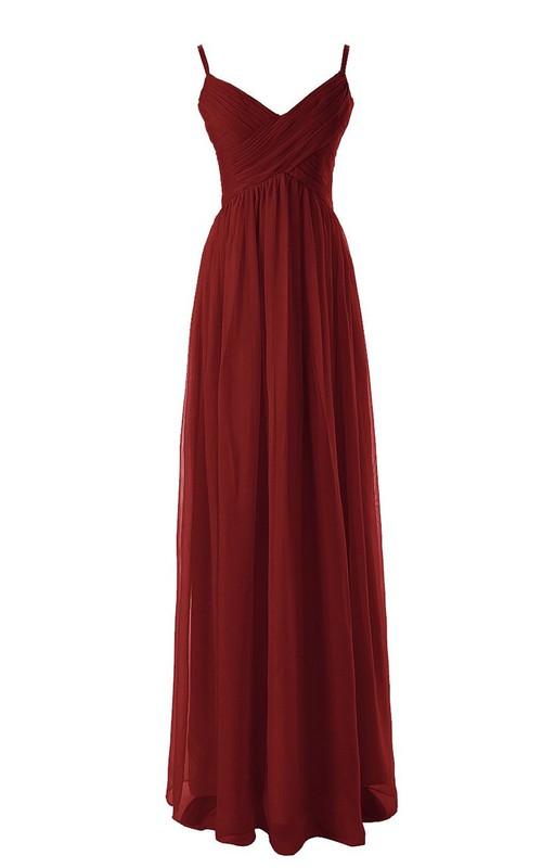 Long Basque Waist Empire Spaghetti-Strap Floor-Length Dress