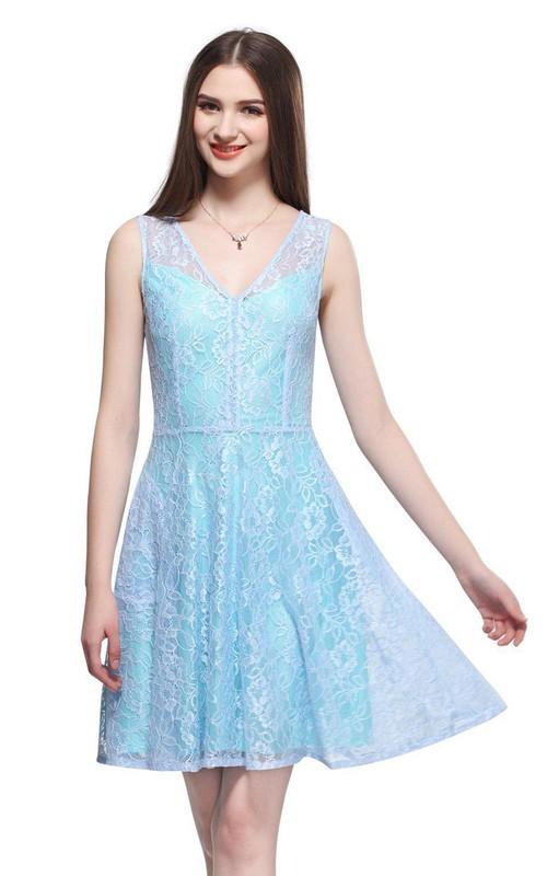 A-Line Lace V-Neckline Sleeveless Short Dress