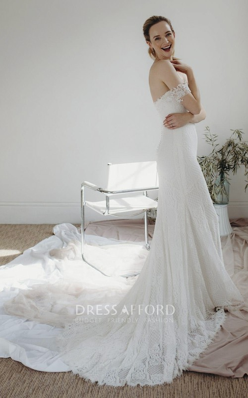 Elegant Sheath Off-the-shoulder Sweetheart Lace Bridal Gown With Open Back And Buttons