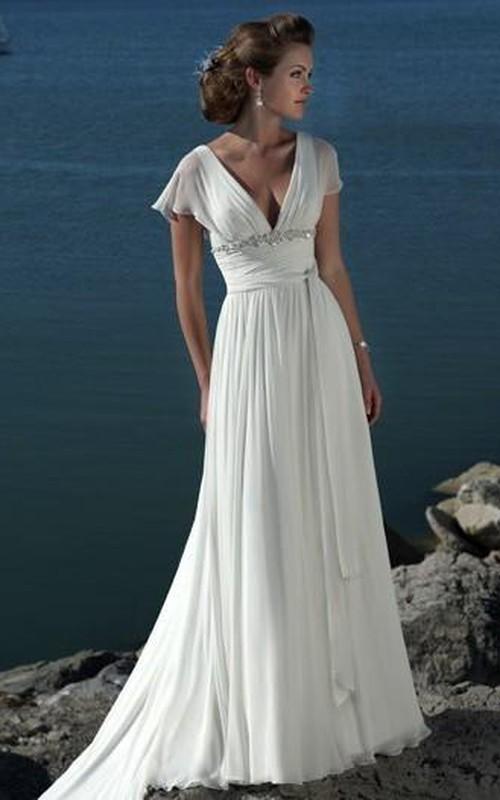 Short-Sleeves Chiffon Bridal Princess A-Line Beach Brush-Train Dress