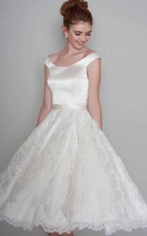 Simple Satin and Lace A-line Cap-Sleeve Tea-length Wedding Dress