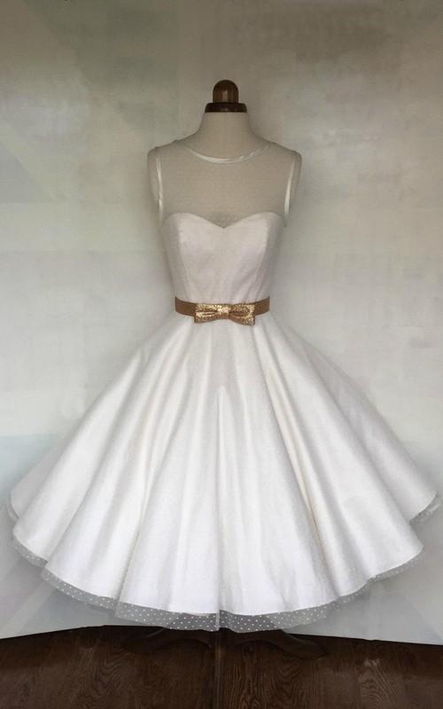 Bow Satin Ribbon Illusion Top 3-4-Length A-Line Dress