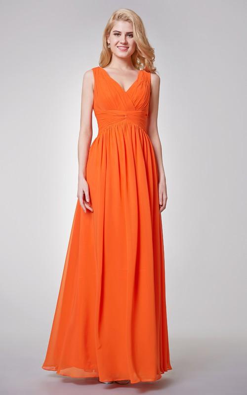 V-neck Sleeveless Chiffon Floor-length Dress With Zipper