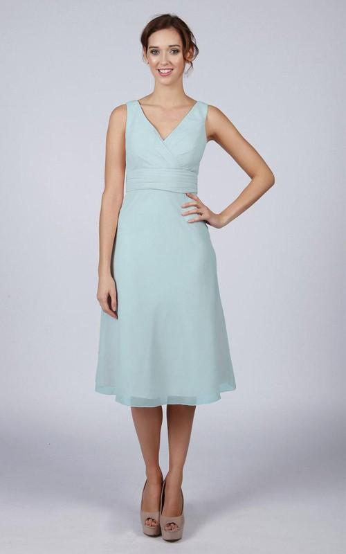 Light Blue Classic Short Bridesmaid Prom Dress