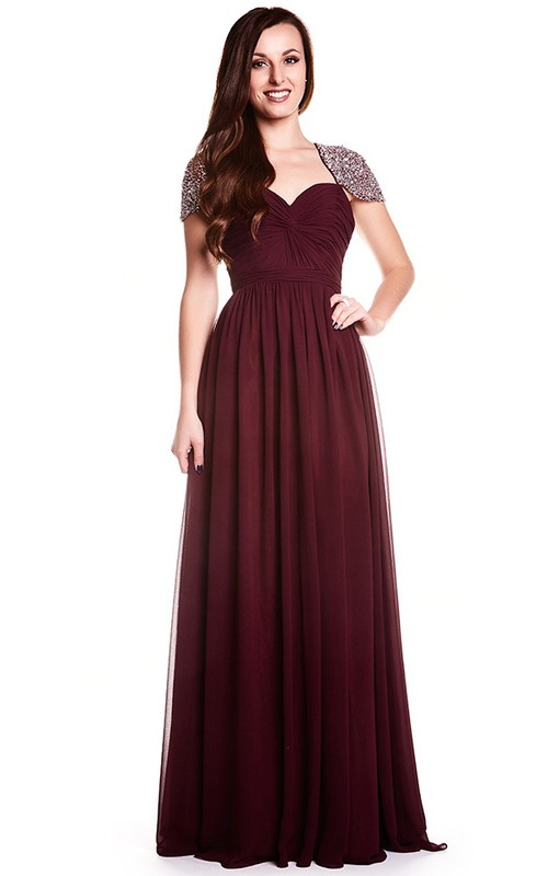 Cap-sleeve Sweetheart Chiffon Dress With Beading And Keyhole