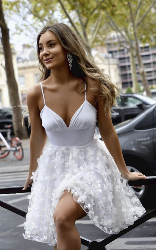 Sexy Plunging Knee Length Spaghetti Dress With Floral Appliqued Skirt