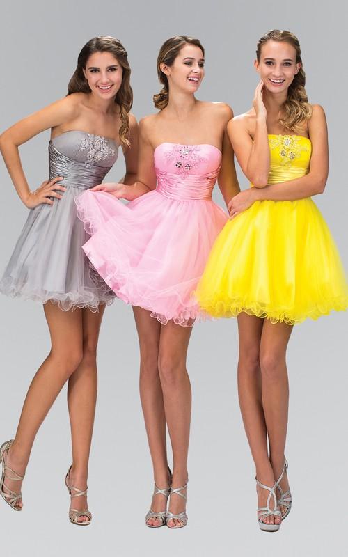 A-Line Ruffles Ruching Short Mini Sleeveless Strapless Dress