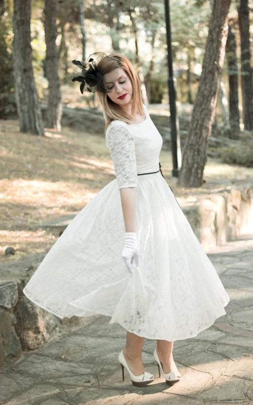 Bridal Satin Ribbon Half Illusion Sleeve 3-4-Length Jewel Dress