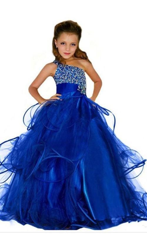 Ball Gown One Shoulder Beading Flower Girl Dress