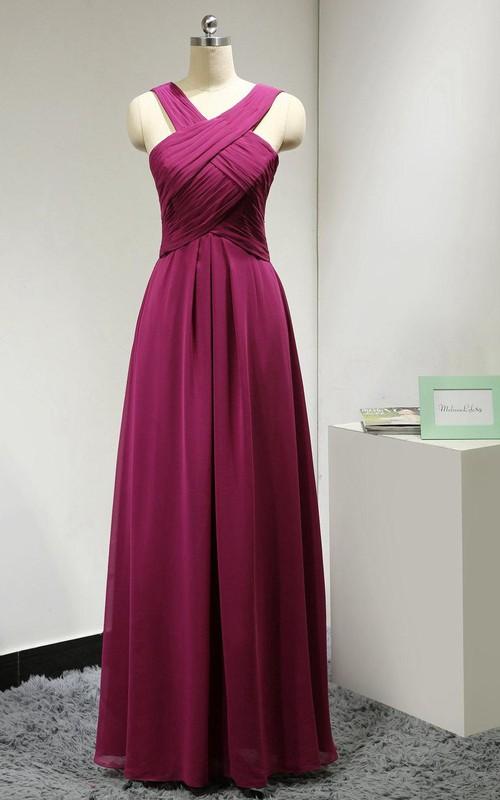 Chiffon Long Fuchsia Formal Evening Gown