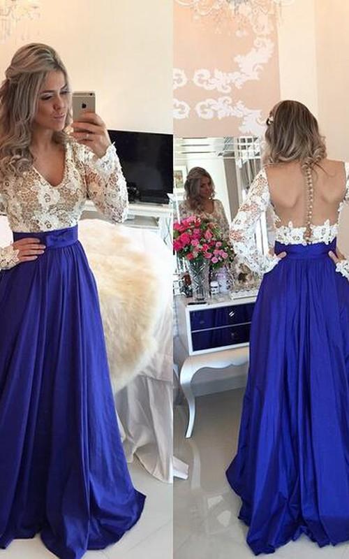 Chiffon Zipper Button Back Formal Lace Modern Long-Sleeve Dress