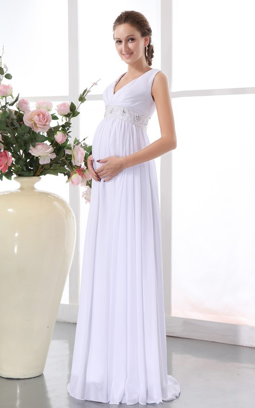 Banded Waistband Draping Chiffon Pregnant Gown
