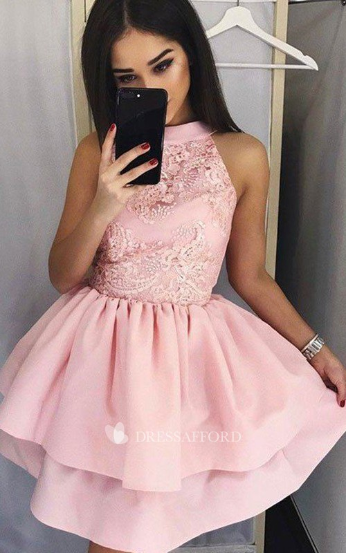 Sleeveless A-line Ball Gown Short Mini High Neck Ruching Tiers Satin Lace Homecoming Dress