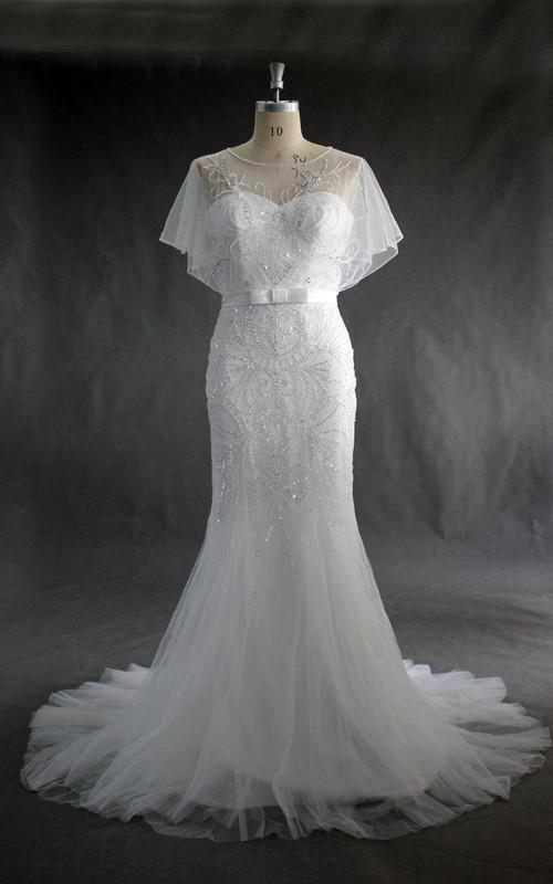 Trumpet Beaded Tulle Jewel-Neckline Wedding Dress