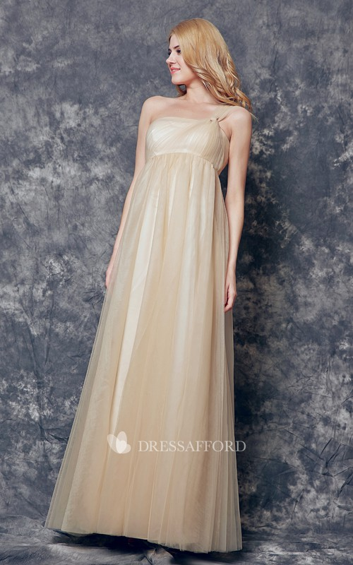 Magical One Shoulder Pleated Long Tulle Dress With Ruching
