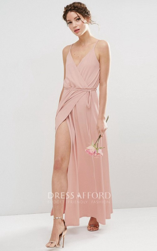 Sheath Spaghetti Chiffon Bridesmaid Dress With Split Front