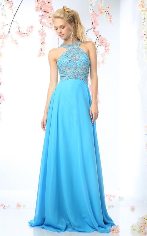 Column Jeweled Ruching High-Neck Sleeveless Keyhole Chiffon Dress
