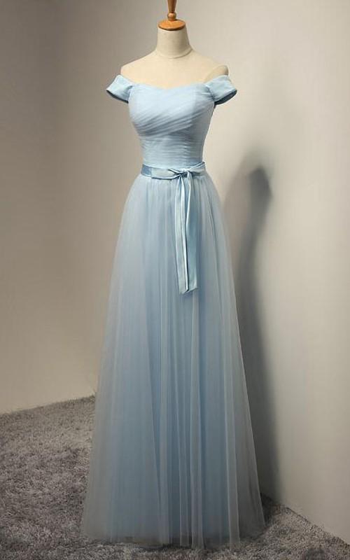 A-line Off-the-shoulder Floor-length Pleats Tulle Dress