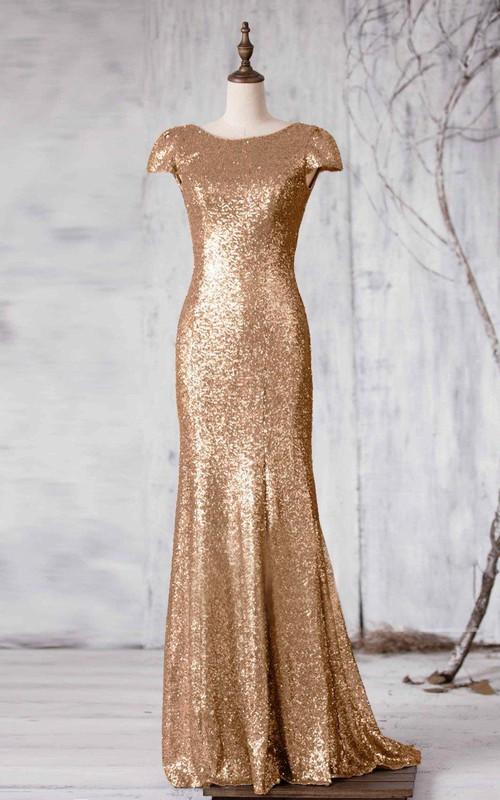 Sequined V Back Long Cap-Sleeve Bateau-Neck Mermaid Dress