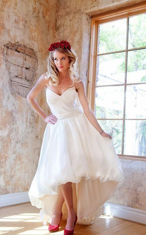 Sweetheart High-low Pick Up Wedding Dress With Beading