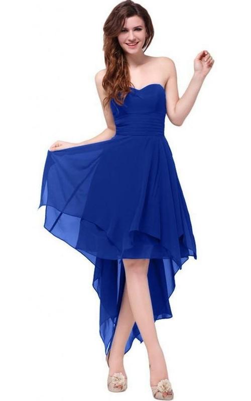 Satin-Ribbon Layered Ruched Sweetheart Chiffon High-Low Dress